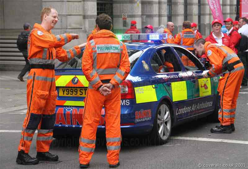 Picture of Air Ambulance Paramedic in orange EMS Jumpsuit at Lord Mayor's Show 2011
