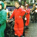 Army Motorcyclists in red & green coveralls at Lord Mayor's show