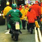Army Motorcyclists in green coveralls at Lord Mayor's show