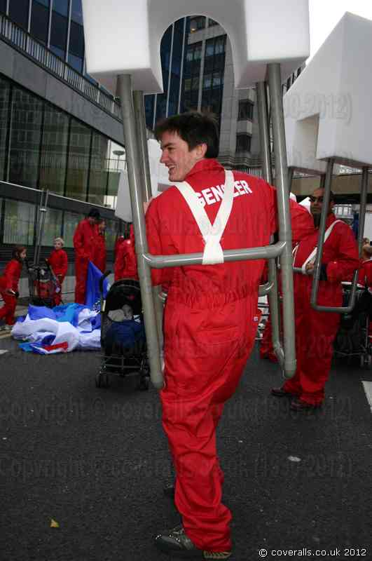 Lad wearing Blue Castle 366 red Overalls at the lord mayors show in 2003. Blue Castle 366 Red Overalls Lad 366