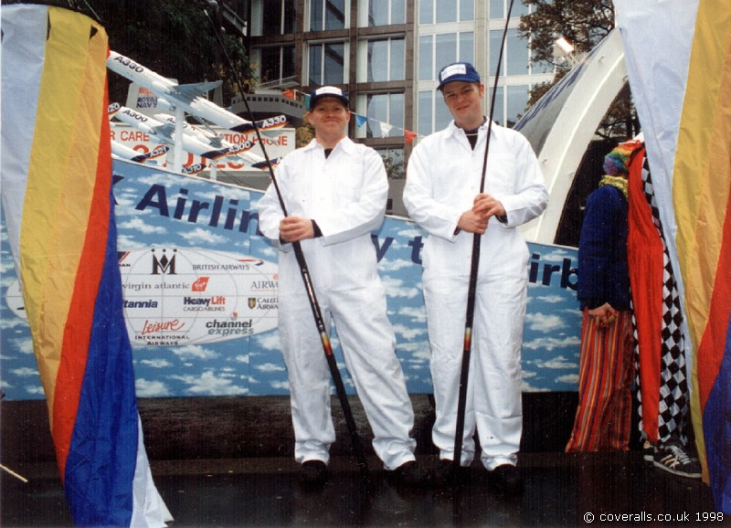 Guys from B'Aerospace at Lord Mayor's Show wearing white boilersuits 1