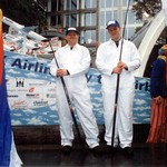 Guys from B'Aerospace at Lord Mayor's Show wearing white boilersuits