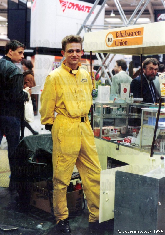 Guy wearing yellow camel branded jumpsuit at CeBit 1