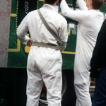 Guys from City and Guilds College at Lord Mayor's Show wearing white boilersuits