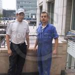 Guy wearing blue coveralls at Canary Wharf