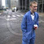 Young guy wearing blue overalls 43