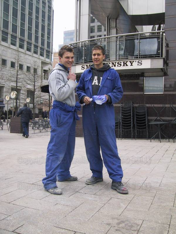 construction workers at Canary Wharf blue overalls doing some serious camera posing  64