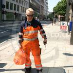 Crane Driver Wearing Mascot Verona Orange-navy Hi-vis Boilersuit 1