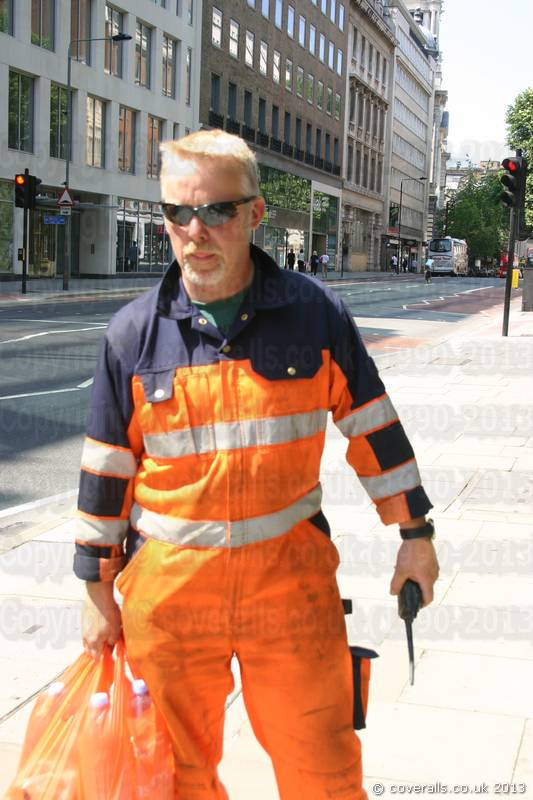 Crane Driver who buys his own coveralls and recommends Mascot as they are hard wearing and comfortable to wear. Crane Driver Wearing Mascot Verona Orange-navy Hi-vis Boilersuit 2