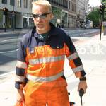 Crane Driver Wearing Mascot Verona Orange-navy Hi-vis Boilersuit