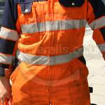 Crane Driver Wearing Mascot Verona Orange-navy Hi-vis Boilersuit 3