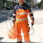 Crane Driver Wearing Mascot Verona Orange-navy Hi-vis Boilersuit 4
