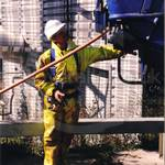 Drain sewage engineer in yellow pvc coveralls 6