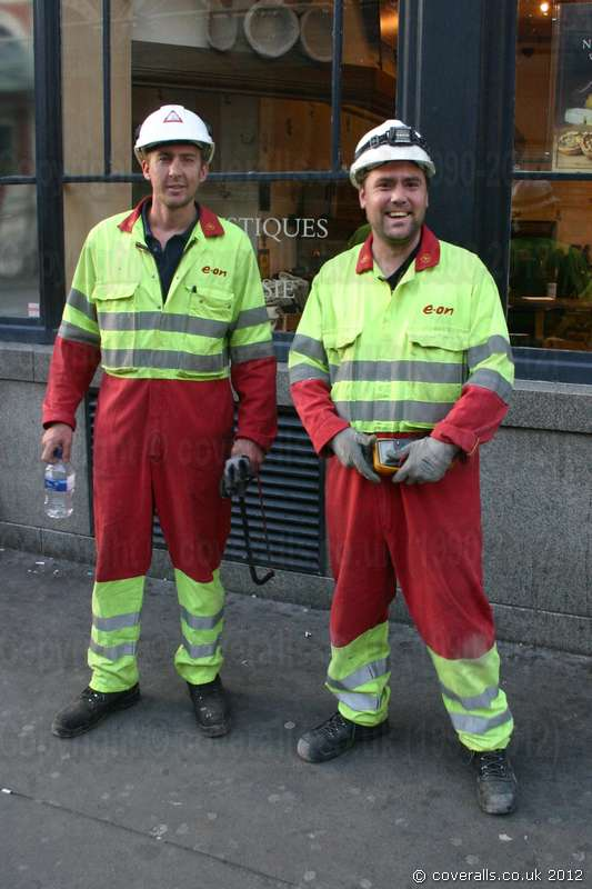 Electrical Engineers Hi-vis Yellow Red Boilersuits 1