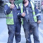 Two lads electricians wearing navy Iona Bizweld coveralls by Portwest