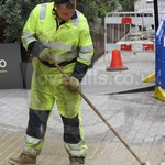 Electricity Workman Wearing Hi-vis Yellow/Blue Coveralls 16