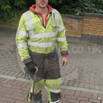 Engineer Wearing Yellow Grey Hi-vis Flame Retardant Coverall 2