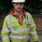Engineer Wearing Yellow Grey Hi-vis Flame Retardant Coverall