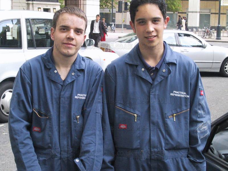 Refrigeration Engineers wearing blue coveralls at Canary Wharf 1