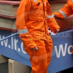 Guy Wearing Roots Orange Hi-vis Coveralls at Lord Mayors Show