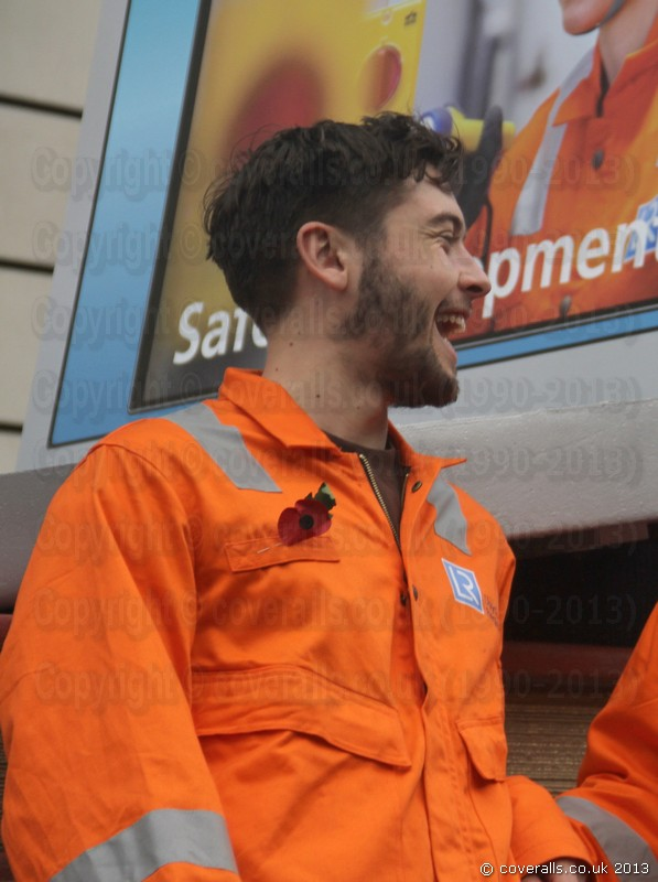 Guy Wearing Roots Orange Hi-vis Coveralls at Lord Mayors Show. Guy Wearing Roots Orange Hi-vis Coveralls 6