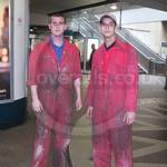 Fire Engineers in dirty red coveralls at Canary Wharf