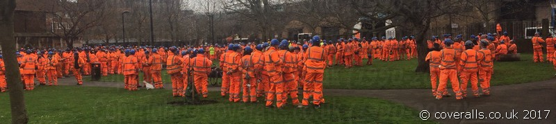 Hundreds of rail workers in a park after a fire drill. Hi-vis Work Wear Heaven 3