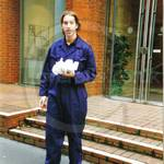 Manager of one of Her Majesty's Estates, dressed for a little light maintenance work in blue coveralls