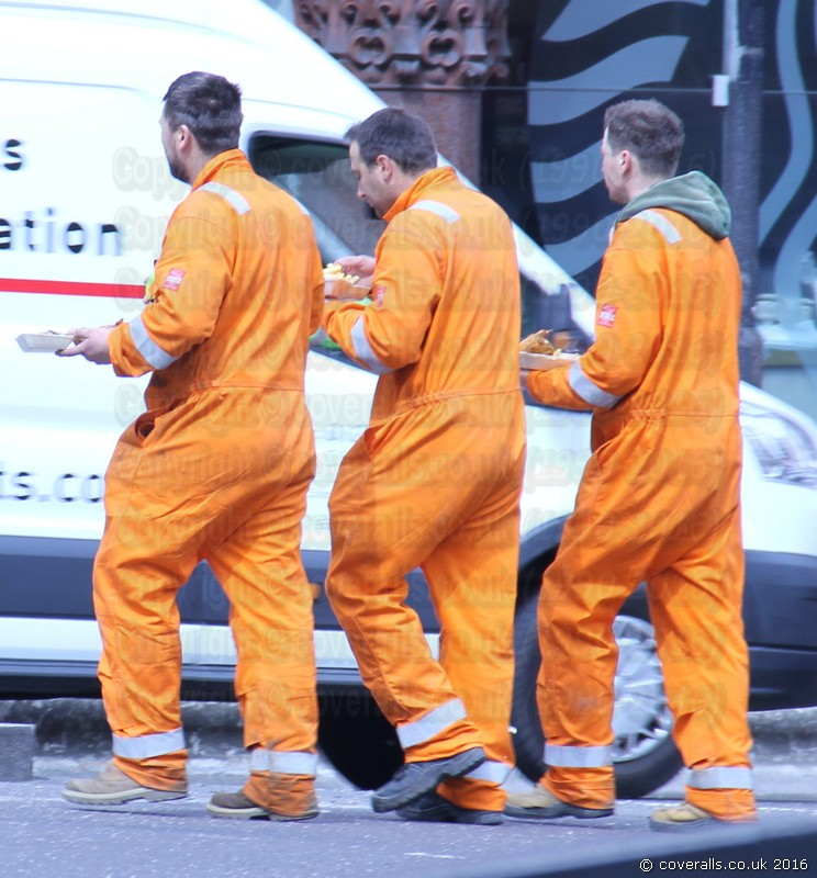 Lads wearing Hi-vis Orange Portwest Bizflame Boilersuits 5