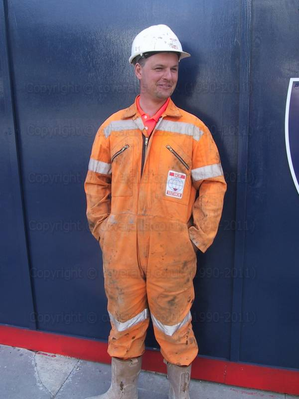 Piling Engineer Orange Hi-vis Coveralls 10