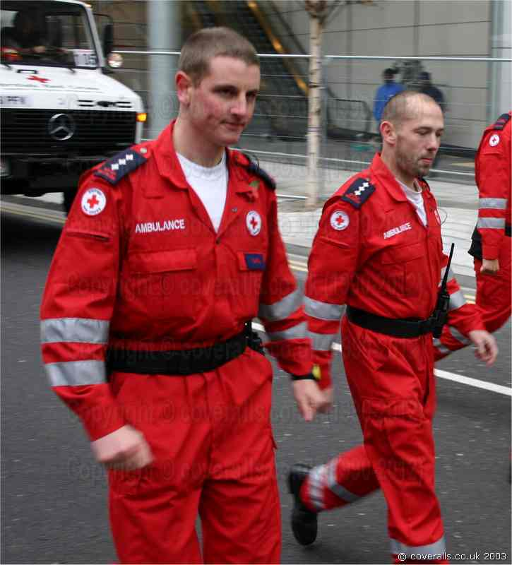Picture of Red Cross Paramedics wearing red hi-vis ems jumpsuits at the Lord Mayors Show 2003