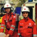 Red Cross team wearing their red EMS jumpsuits at Lord Mayor's Show