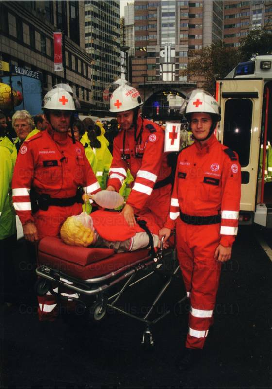 Red Cross team wearing their red EMS jumpsuits at Lord Mayor's Show 5