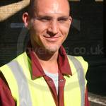 Road Sweeper wearing maroon boilersuit/coverall 1