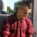 Road Sweeper wearing maroon boilersuit/coverall 2
