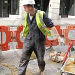 Road Worker Wearing Blue Boilersuit