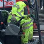 Road Workers Wearing Hi Vis Yellow Boilersuits