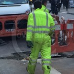 Road Worker Wearing Hi Vis Yellow Boilersuit