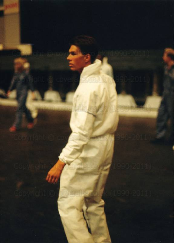 Guy wearing white disposable overall at RoSPA 1