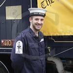 Sailor wearing a blue boilersuit at the Lord Mayors Show