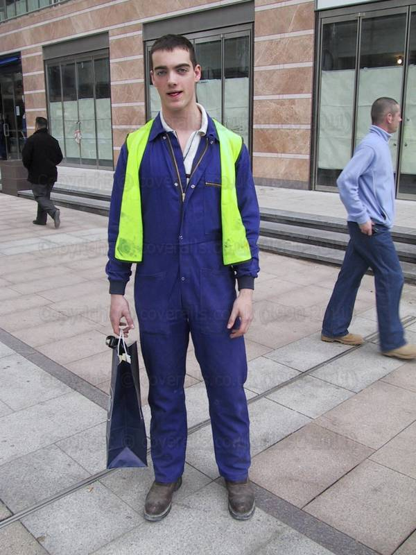 """SEAN 10"" was silk-screened onto on the back of his blue coverall. The lovely Sean #10 wearing a blue coverall at Canary Wharf 7"