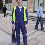 The lovely Sean #10 wearing a blue coverall at Canary Wharf