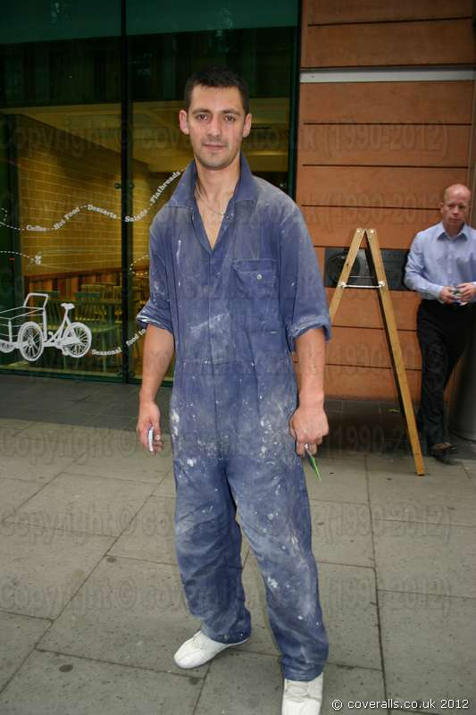 Picture of Young Sexy Builder Wearing A Blue Portwest Boilersuit in London