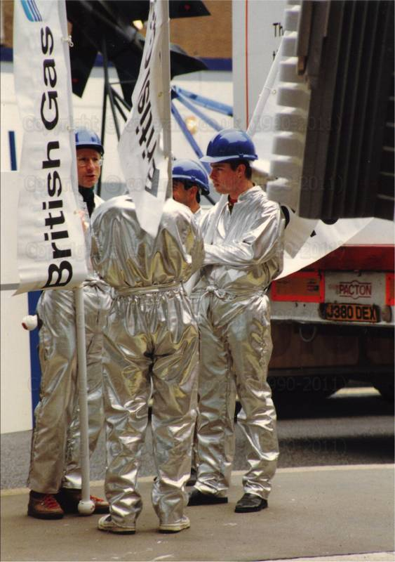 Picture of guys wearing silver coverall jumpsuits at Lord Mayors Show