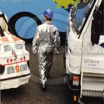 Boy wearing silver suit coverall jumpsuit at Lord Mayors Show