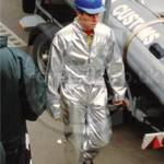 Boy wearing silver coverall jumpsuit