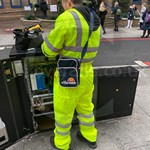 Traffic Light Engineer Wearing Hi-vis Yellow Super Touch Coveralls 4