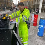 Traffic Light Engineer Wearing Hi-vis Yellow Super Touch Coveralls 5