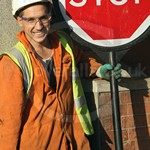 Traffic Control Stop Go Board Workmen