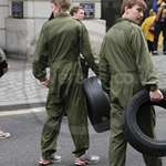 Trainee recruits in olive green overalls at Lord Mayors Show 2011
